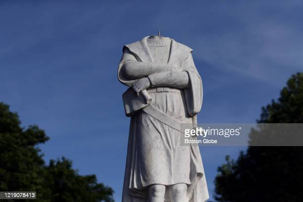 The vandalized statue of Christopher Columbus in Christopher Columbus Park in the North End neighborhood of Boston MA on on June 10 2020 The head of...
