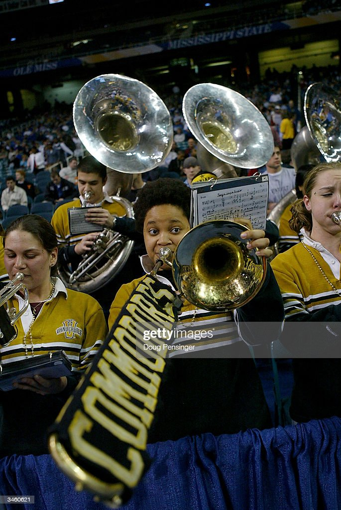 The Vanderbilt University Commodores 'Spirit of Gold' Basketball Band performs during the SEC Men's Basketball Tournament against the Mississippi State University Bulldogs at the Georgia Dome on March 12, 2004 in Atlanta, Georgia. Vanderbilt defeated Mississippi State 74-70 in overtime.