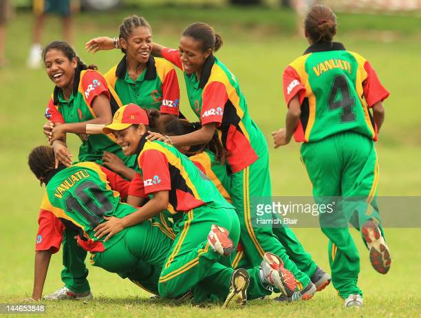 The Vanuatu team celebrate a wicket during the round five match between Vanuatu and Japan played at Independence park during the ICC East Asia...