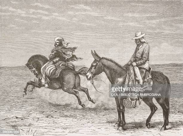The vaqueano and arriero Chile drawing by Olivier De Penne from a sketch by the author from The Atacama Desert and Caracoles 1870 1874 by Andre...