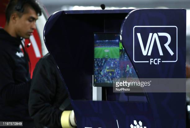 The VAR cabin during a betplay league match. During the BetPlay League match between Equidad v Atletico Nacional, in Bogota, Colombia, on January 29,...