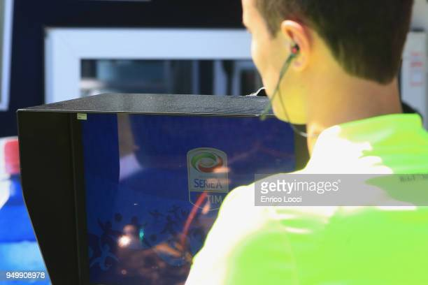 the var during the serie A match between Cagliari Calcio and Bologna FC at Stadio Sant'Elia on April 22 2018 in Cagliari Italy