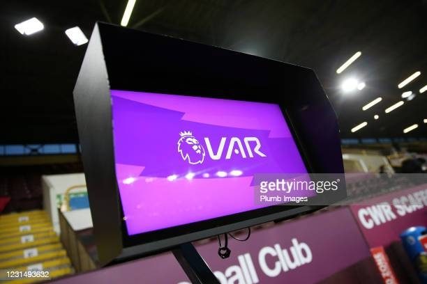 The VAR monitor at Turf Moor during the Premier League match between Burnley and Leicester City at Turf Moor on March 3, 2021 in Burnley, United...