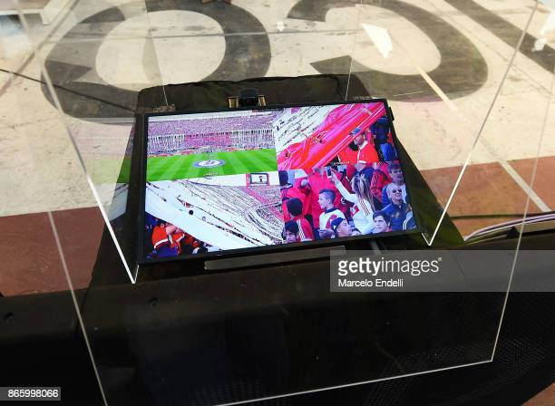 The VAR monitor is seen on the field prior a first leg match between River Plate and Lanus as part of semifinals of Copa CONMEBOL Libertadores...