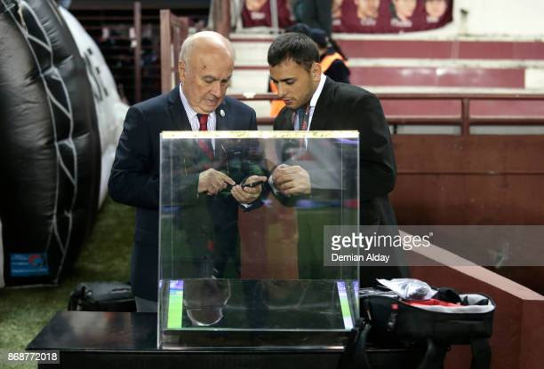 The VAR monitor is seen prior a second leg match between Lanus and River Plate as part of the semifinals of Copa CONMEBOL Libertadores Bridgestone...