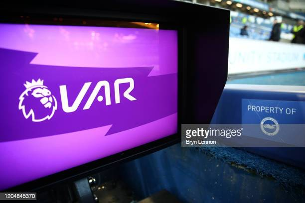 The VAR monitor is seen prior to the Premier League match between Brighton & Hove Albion and Watford FC at American Express Community Stadium on...