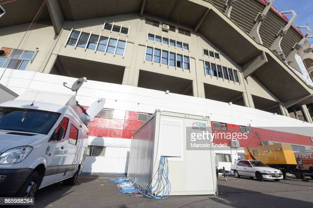 The VAR monitor studio is seen outside the stadium prior a first leg match between River Plate and Lanus as part of semifinals of Copa CONMEBOL...