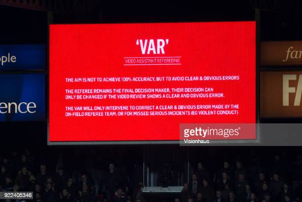 The VAR or Video Assistant Referee review system on the screen during the FA Cup Fifth Round match between Huddersfield Town and Manchester United at...