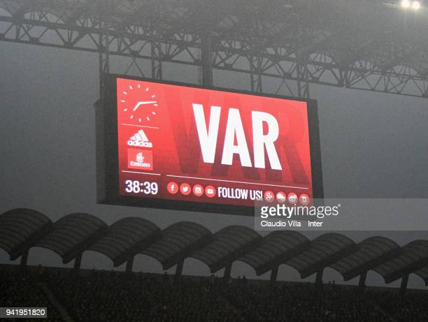 The VAR or Video Assistant Referee review system on the screen during the serie A match between AC Milan and FC Internazionale at Stadio Giuseppe...