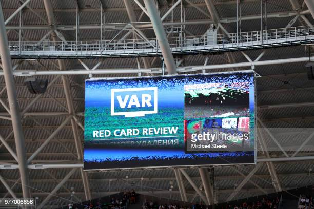 The VAR red card review message is seen on the scoreboars during the 2018 FIFA World Cup Russia group E match between Costa Rica and Serbia at Samara...
