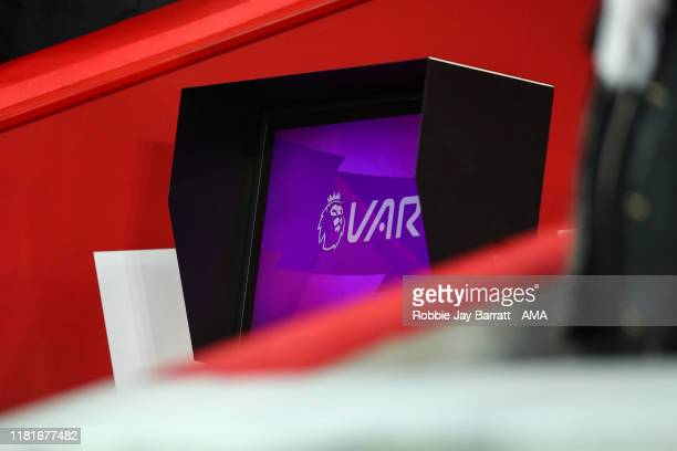 The VAR screen during the Premier League match between Liverpool FC and Manchester City at Anfield on November 10, 2019 in Liverpool, United Kingdom.