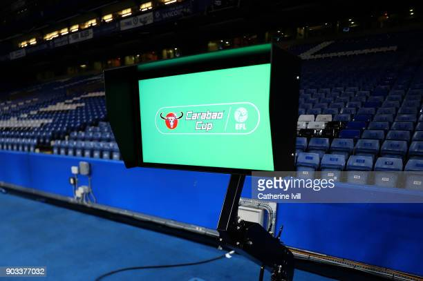 The VAR screen is pictured prior to the Carabao Cup SemiFinal First Leg match between Chelsea and Arsenal at Stamford Bridge on January 10 2018 in...