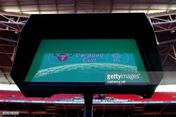 The VAR screen is seen at Wembley ahead of the Carabao Cup Final between Arsenal and Manchester City at Wembley Stadium on February 25 2018 in London...