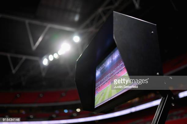 The VAR screen is seen pitchside prior to The Emirates FA Cup Fourth Round Replay match between Tottenham Hotspur and Newport County at Wembley...