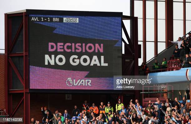 The VAR screen shows a No Goal decision during the Premier League match between Aston Villa and Brighton & Hove Albion at Villa Park on October 19,...