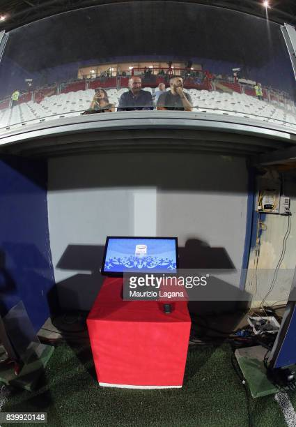 The VAR sistem is shown prior the Serie A match between FC Crotone and Hellas Verona FC at Stadio Comunale Ezio Scida on August 27 2017 in Crotone...