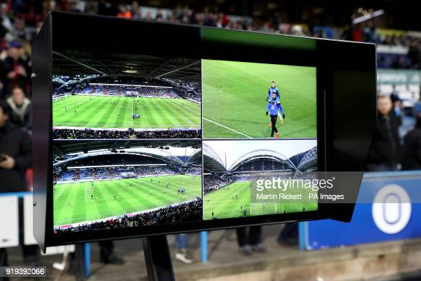 The VAR Video Assistant Referee screens before the Emirates FA Cup Fifth Round match at The John Smith's Stadium Huddersfield