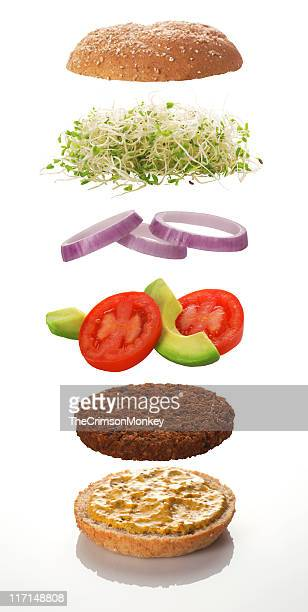 The various levels of a veggie burger