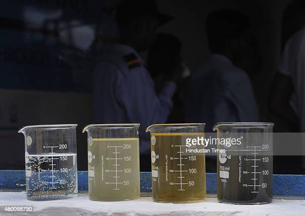 The various stages of sewage water to potable water during the inauguration of Water Treatment Plant at Keshopur on July 9 2015 in New Delhi India...