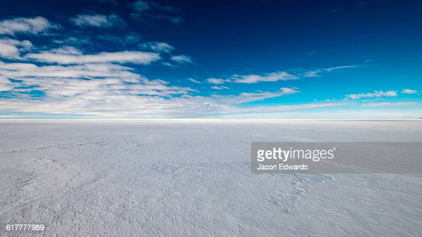 The vast and featureless plain and horizon of the Ross Ice Shelf.