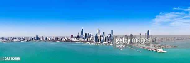 The vast Chicago skyline depicted in a panorama