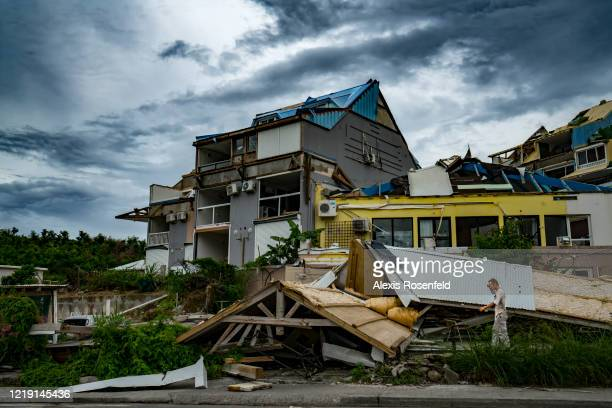 The vast majority of buildings houses and mainly roofs have been affected by the tropical storm on November 08 SaintMartin French West Indies...