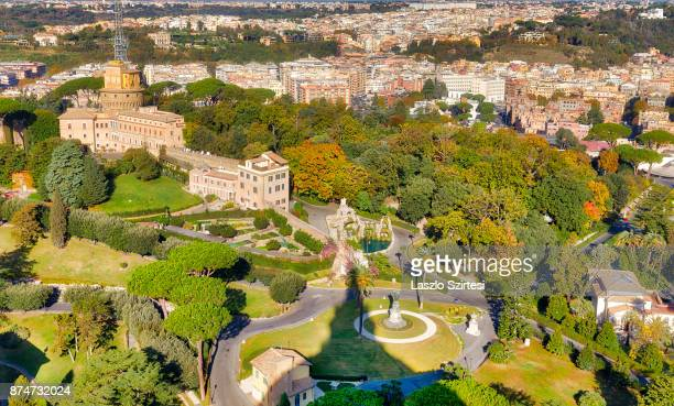 The Vatican Garden and Rome are seen at the dome of St Peter's Basilica on November 1 2017 in Vatican City Vatican