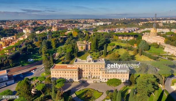 The Vatican Garden and the Palace of the Governor are seen at the dome of St Peter's Basilica on November 1 2017 in Vatican City Vatican