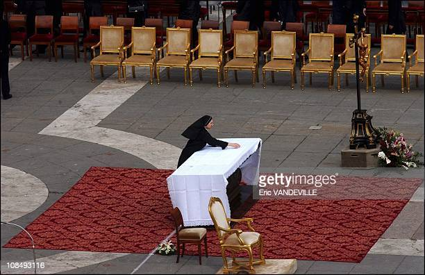 The Vatican secretary of state Cardinal Angelo Sodano celebrated the requiem mass for Pope John Paul II on the steps of St Peter's Basilica in Rome...