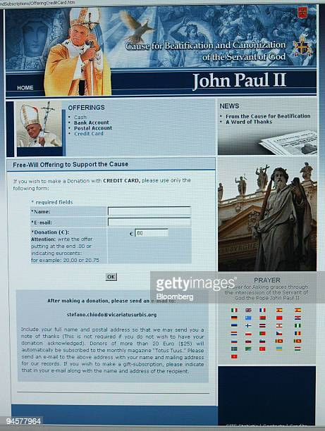 The Vatican website dedicated to the Beatification and Canonization of former Pope John Paul II and asking for credit card donations displayed in...