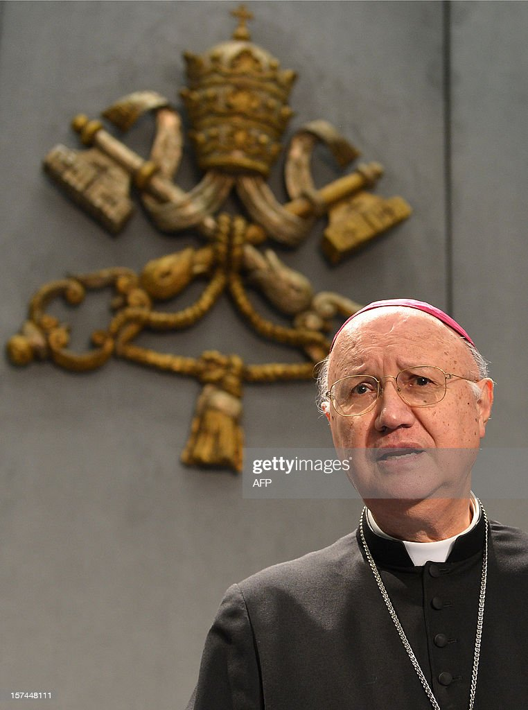 The Vatican's President of the Pontifical Council for Social Communications, Claudio Maria Celli, takes place for a press conference to announce that the pontif will join Twitter latre in the month...
