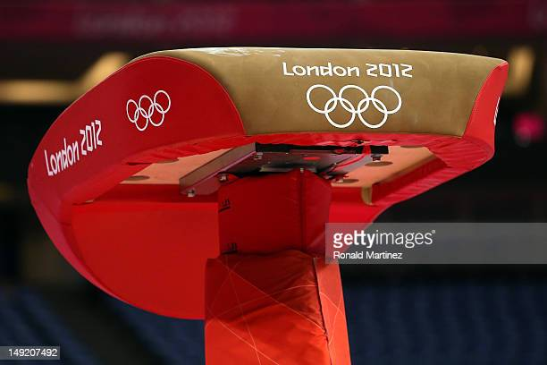 The vault is seen during men's artistic gymnastics training sessions ahead of the 2012 London Olympic Games at North Greenwich Arena on July 25 2012...