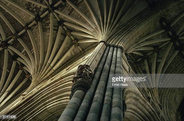 The vaulted roof of Exeter Cathedral a fine example of Decorated Gothic architecture Colour Photography book