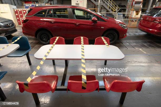 The Vauxhall car factory with an example of distancing measures necessary when on a break during preparedness tests and redesign ahead of reopening...