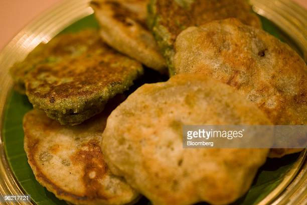 The Vazhaipoo vadai deepfried fritters made of banana flowers and lentils is arranged for a photograph at Dakshin restaurant at the Sheraton hotel in...