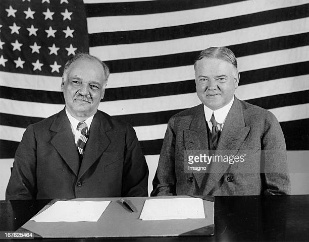 The Vce-President of the United States of America. Charles Curtis and the president Herbert Hoover vor der Wahl. Photograph. 1929. Der...