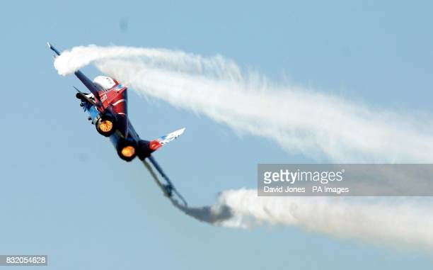 The Vector thrust Mig 29 makes it's debut in Britain at the International Air Tattoo Fairford today