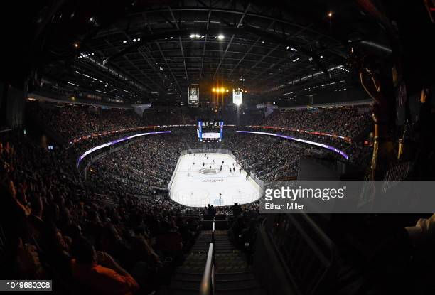 The Vegas Golden Knights' 2018 Western Conference Champions and 201718 Pacific Division Champions banners hang in the rafters during the team's...