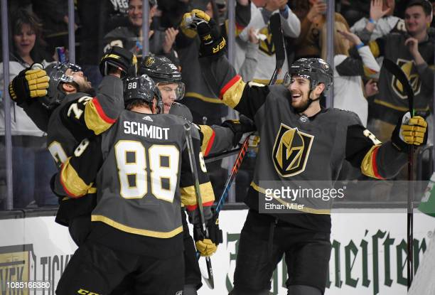 The Vegas Golden Knights celebrate after Brandon Pirri scored a secondperiod powerplay goal against the New York Islanders during their game at...