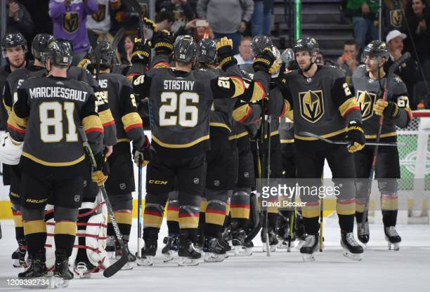 The Vegas Golden Knights celebrate after defeating the Buffalo Sabres at TMobile Arena on February 28 2020 in Las Vegas Nevada