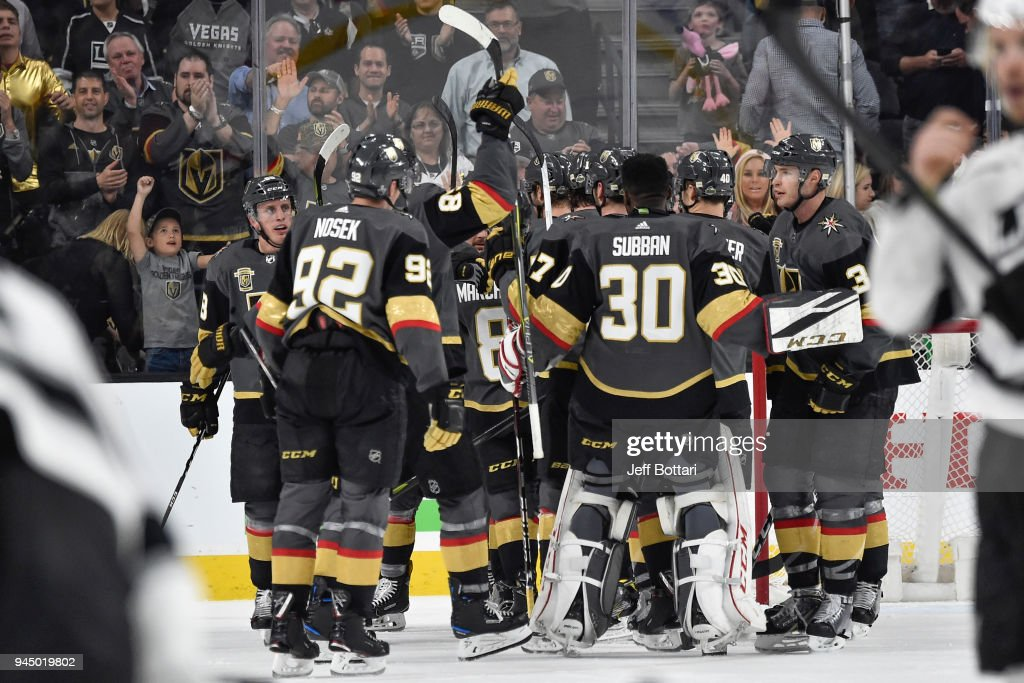 The Vegas Golden Knights celebrate after defeating the Los Angeles Kings in Game One of the Western Conference First Round during the 2018 NHL Stanley Cup Playoffs at T-Mobile Arena on April 11, 2018 in Las Vegas, Nevada.