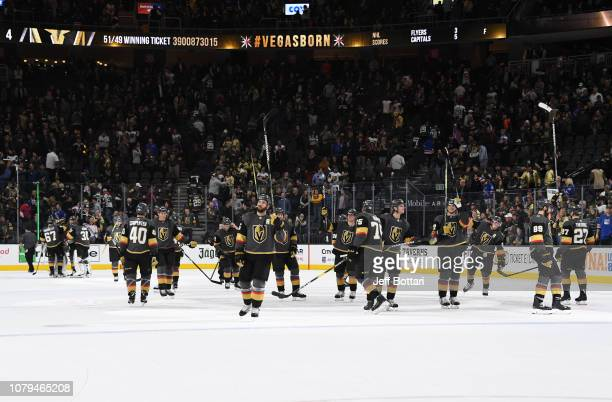 The Vegas Golden Knights celebrate after defeating the New York Rangers at T-Mobile Arena on January 8, 2019 in Las Vegas, Nevada.