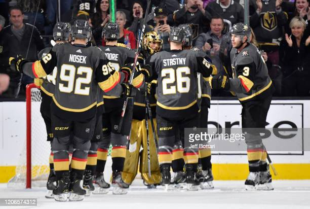 The Vegas Golden Knights celebrate after defeating the New York Islanders at TMobile Arena on February 15 2020 in Las Vegas Nevada
