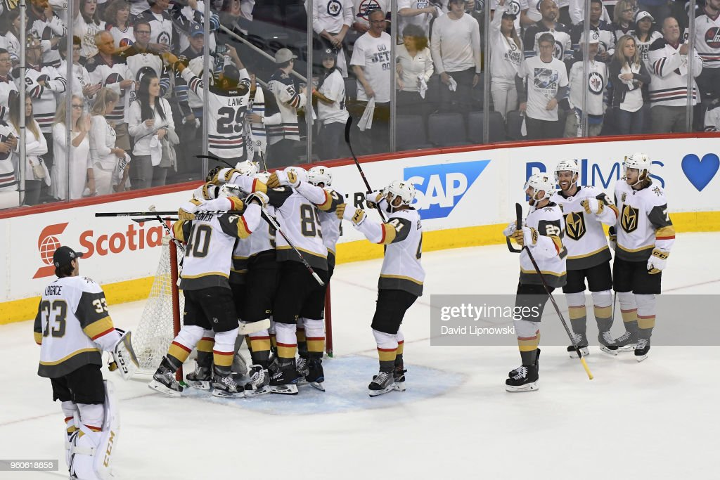 The Vegas Golden Knights celebrate defeating the Winnipeg Jets 2-1 in Game Five of the Western Conference Finals to advance to the 2018 NHL Stanley Cup Final at Bell MTS Place on May 20, 2018 in Winnipeg, Canada.