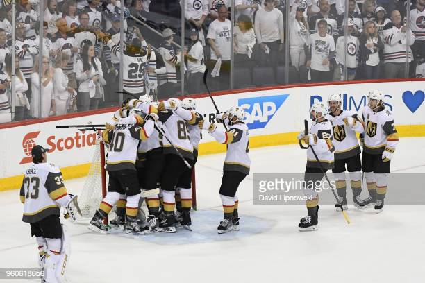 The Vegas Golden Knights celebrate defeating the Winnipeg Jets 21 in Game Five of the Western Conference Finals to advance to the 2018 NHL Stanley...