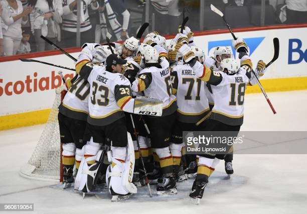The Vegas Golden Knights celebrate defeating the Winnipeg Jets 2-1 in Game Five of the Western Conference Finals to advance to the 2018 NHL Stanley...