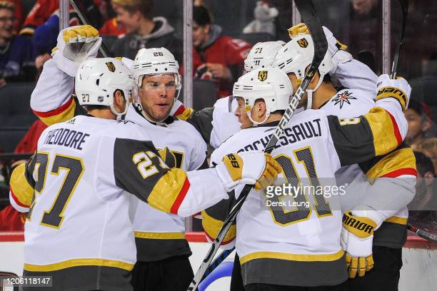The Vegas Golden Knights celebrate the goal of Max Pacioretty against the Calgary Flames during an NHL game at Scotiabank Saddledome on March 8 2020...