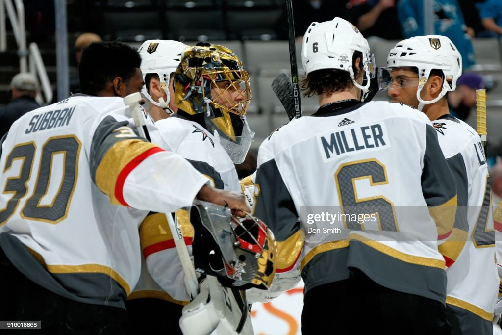 The Vegas Golden Knights celebrate their 5-3 win over the San Jose Sharks at SAP Center on February 8, 2018 in San Jose, California.