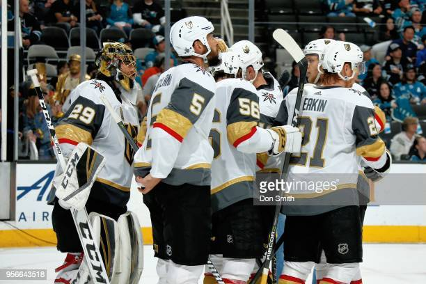 The Vegas Golden Knights celebrate their win against the San Jose Sharks in Game Six of the Western Conference Second Round during the 2018 NHL...