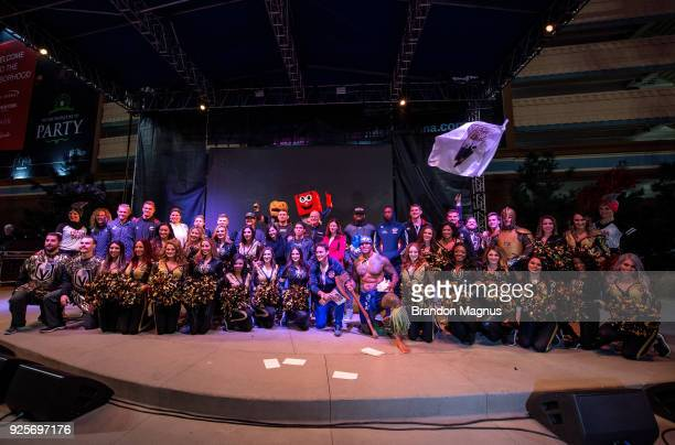 The Vegas Golden Knights cheerleaders UFC Fighters USA Sevens and Nascar drivers pose during the Ultimate Sports Weekend Pep Rally at Toshiba Plaza...